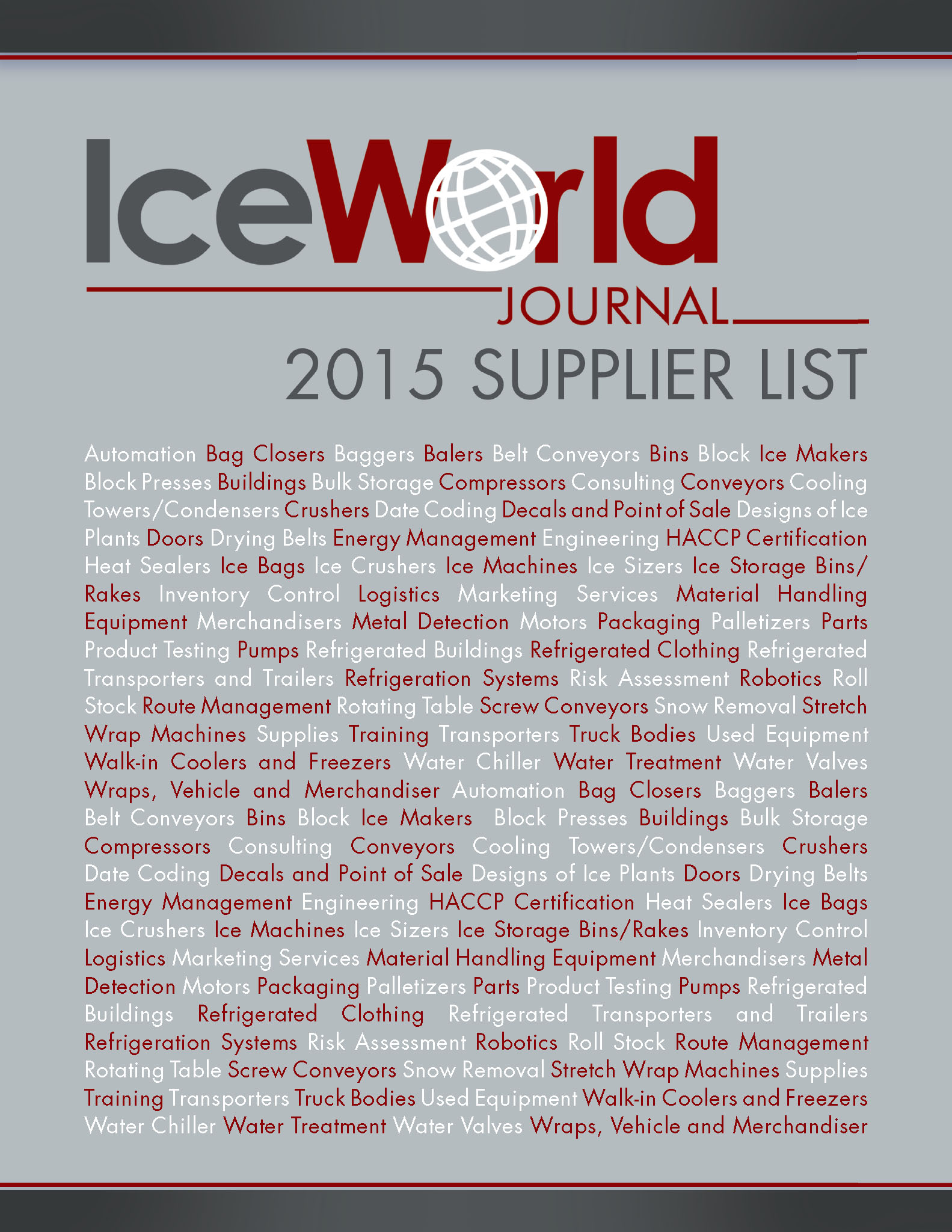 Ice World Journal The International Publication of the Packaged Ice Industry Supplier List